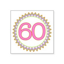 "Number 60 Sherbert Zig Zag Square Sticker 3"" x 3"""