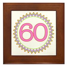 Number 60 Sherbert Zig Zag Framed Tile