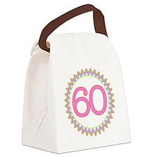 Number 60 Sherbert Zig Zag Canvas Lunch Bag