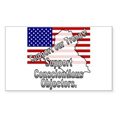 Support Conscientious Objectors! Sticker (Rectangu