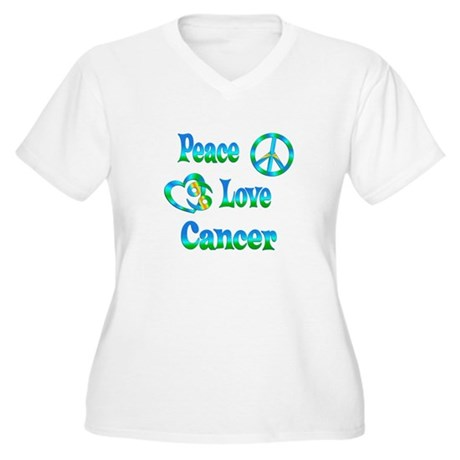 Peace Love Cancer Women's Plus Size V-Neck T-Shirt