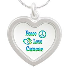 Peace Love Cancer Silver Heart Necklace