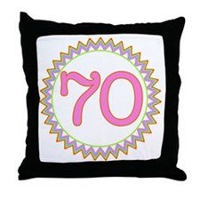 Number 70 Sherbert Zig Zag Throw Pillow