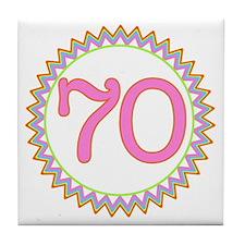 Number 70 Sherbert Zig Zag Tile Coaster
