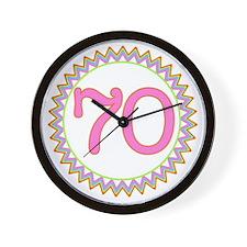 Number 70 Sherbert Zig Zag Wall Clock