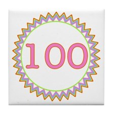 Number 100 Sherbert Zig Zag Tile Coaster