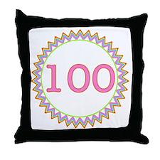 Number 100 Sherbert Zig Zag Throw Pillow