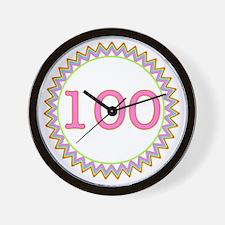 Number 100 Sherbert Zig Zag Wall Clock