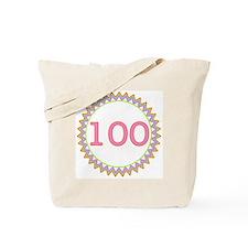 Number 100 Sherbert Zig Zag Tote Bag