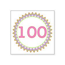 "Number 100 Sherbert Zig Zag Square Sticker 3"" x 3"""
