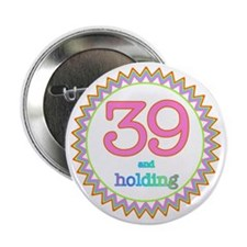 """Number 39 and Holding Sherbert Zig Za 2.25"""" Button"""