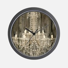 barnwood  chandelier rustic Wall Clock