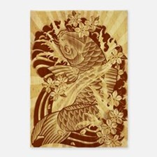vintage japanese koi fish 5'x7'Area Rug