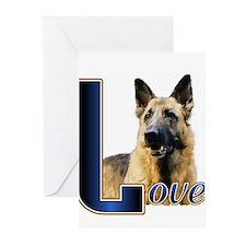 Gernan Shepherd Love Greeting Cards (Pk of 10)