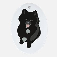 Black Pomeranian Puppy Ornament (Oval)
