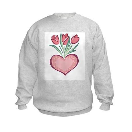 Heart and Tulips Kids Sweatshirt