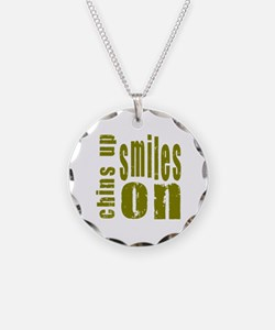 Chins Up Smiles On Necklace Circle Charm