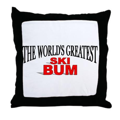 """The World's Greatest Ski Bum"" Throw Pillow"