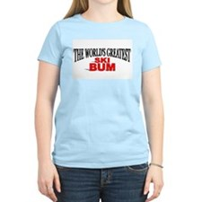 """The World's Greatest Ski Bum"" Women's Pink T-Shir"