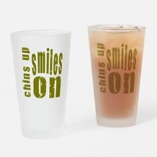 Chins Up Smiles On Drinking Glass