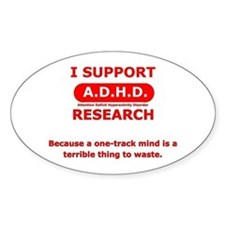 Support ADHD Research Oval Decal