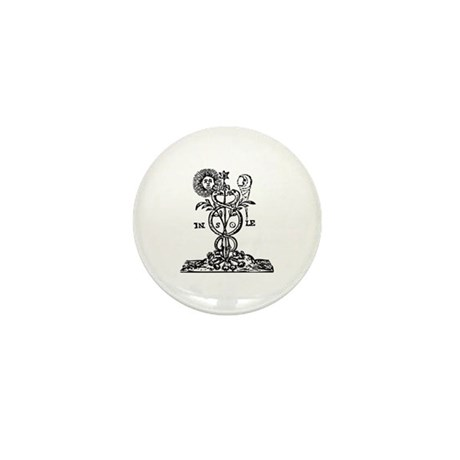 Caduceus Alchemy Symbol Mini Button