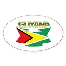 Guyana flag ribbon Oval Decal
