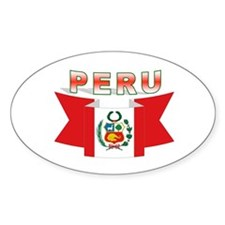 The flag of Peru ribbon Oval Decal