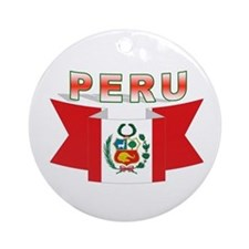 The flag of Peru ribbon Ornament (Round)
