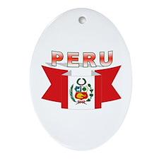 The flag of Peru ribbon Oval Ornament