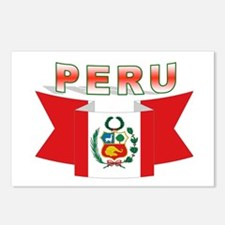 The flag of Peru ribbon Postcards (Package of 8)