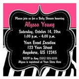Pink zebra baby shower 5.25 x 5.25 Flat Cards