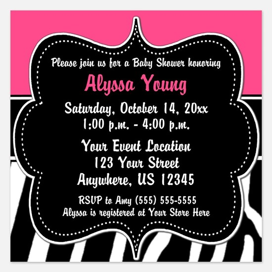 Pink Zebra Print invitation 5.25 x 5.25 Flat Cards