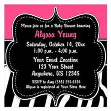 Pink Zebra Print invitation Invitations