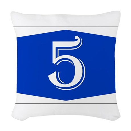 Number 5 Woven Throw Pillow