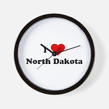 I Love North Dakota Wall Clock