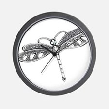 Metallic Silver Dragonfly Wall Clock
