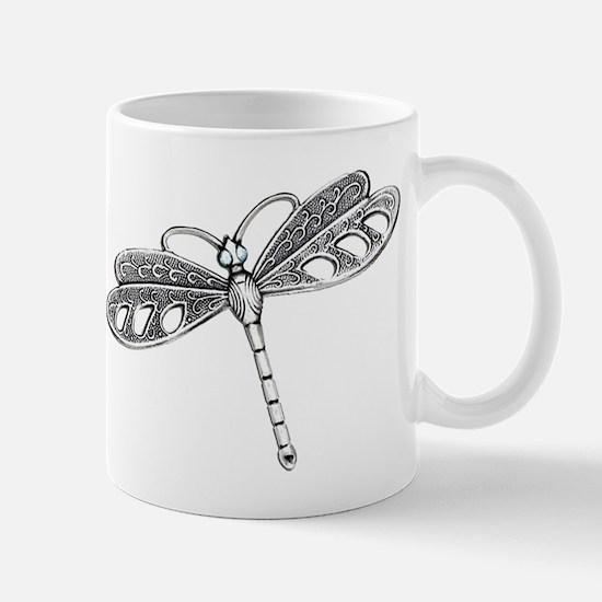 Metallic Silver Dragonfly Mugs