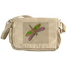 Purple Green Dragonfly in Reeds Messenger Bag