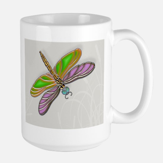 Purple Green Dragonfly in Reeds Mugs