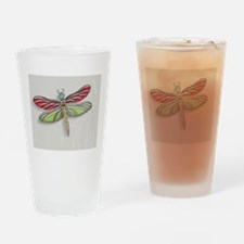 Green Red Jeweled Dragonfly small Drinking Glass