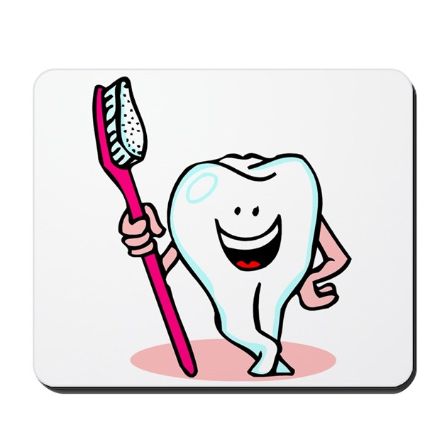 Happy Toothbrush Dentist / Dental Hygienist Mousep By Mblemz