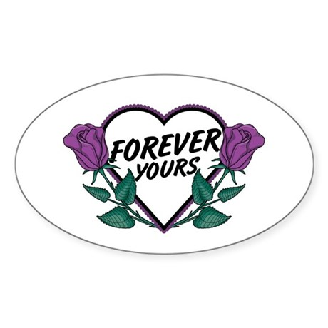Forever Yours P Roses Oval Sticker