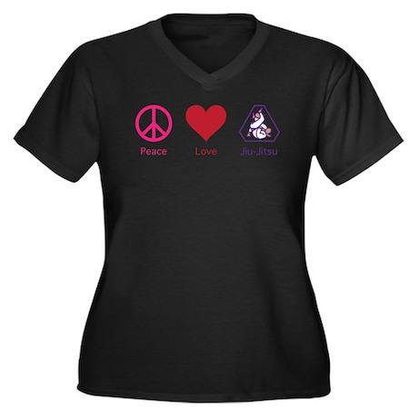 Peace, Love, BJJ 01 Women's Plus Size V-Neck Dark
