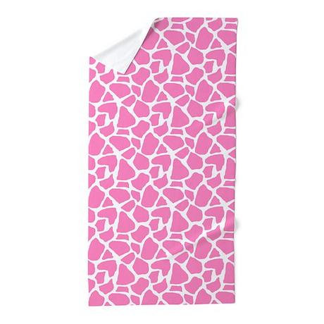 Pink Giraffe Pattern Beach Towel