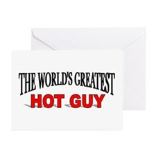 """""""The World's Greatest Hot Guy"""" Greeting Cards (Pac"""
