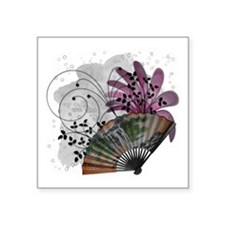 """chinese fan Square Sticker 3"""" x 3"""""""