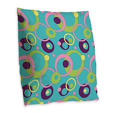 Funky Blue Circles Burlap Throw Pillow