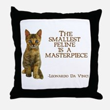 The smallest feline is a masterpiece Throw Pillow
