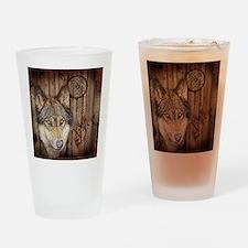 wolf dream catcher birch woodgrain Drinking Glass